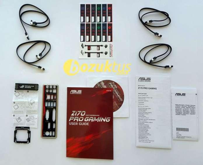 Asus Z170 Pro Gaming kutu içeriği