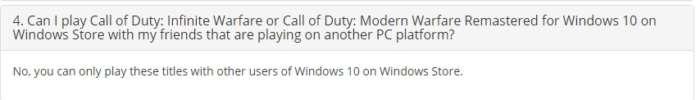 Infinite Warfare Windows Store